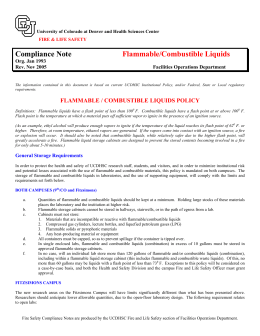 Compliance Note Flammable/Combustible Liquids