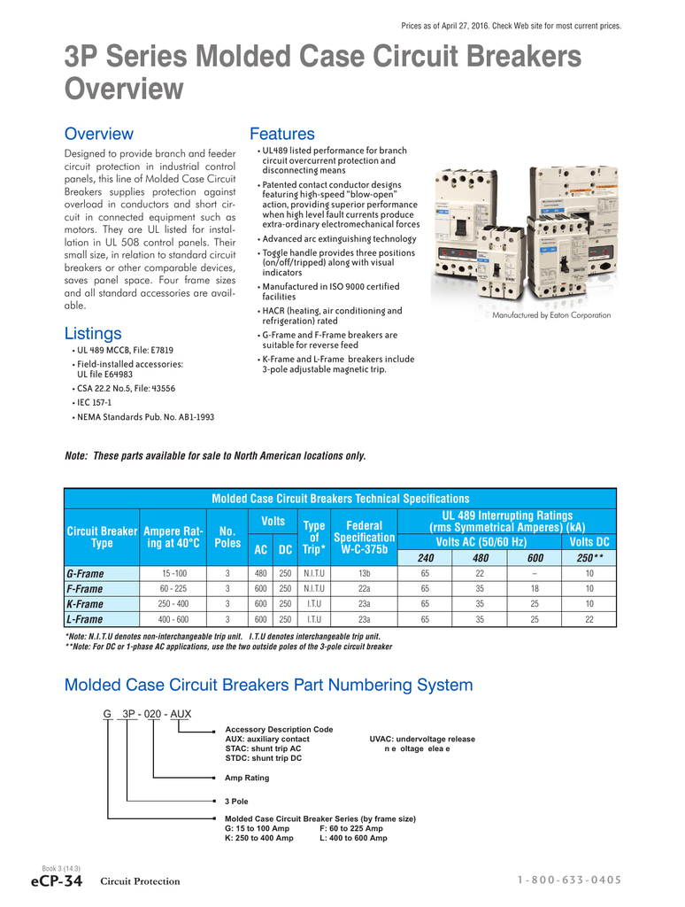 3p Series Molded Case Circuit Breakers 600a Frame Wiring Diagram In Addition Shunt Trip Breaker On