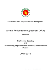 Annual Performance Agreement (APA) 2014-2015