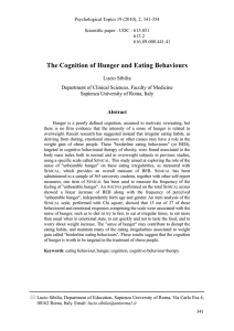 The Cognition of Hunger and Eating Behaviours