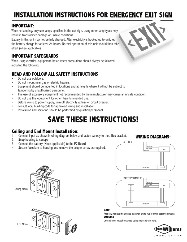 [SCHEMATICS_48DE]  installation instructions for emergency exit sign | Led Sign Wiring Diagram |  | Studylib