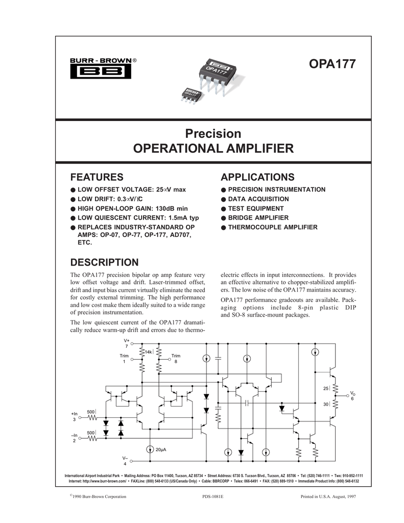 Opa177 Precision Operational Amplifier The Circuit Below Uses A Low Cost Opamp To Add Precise Current