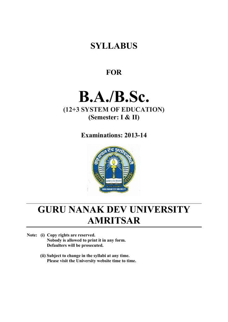 BA BSC Semester I and II - Guru Nanak Dev University