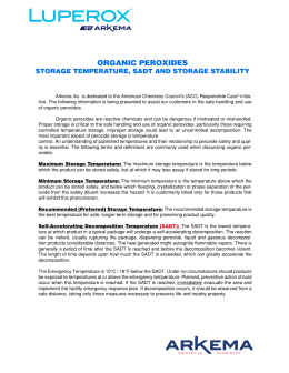 Arkema Inc. - Organic Peroxides Storage Temperature, SADT, and