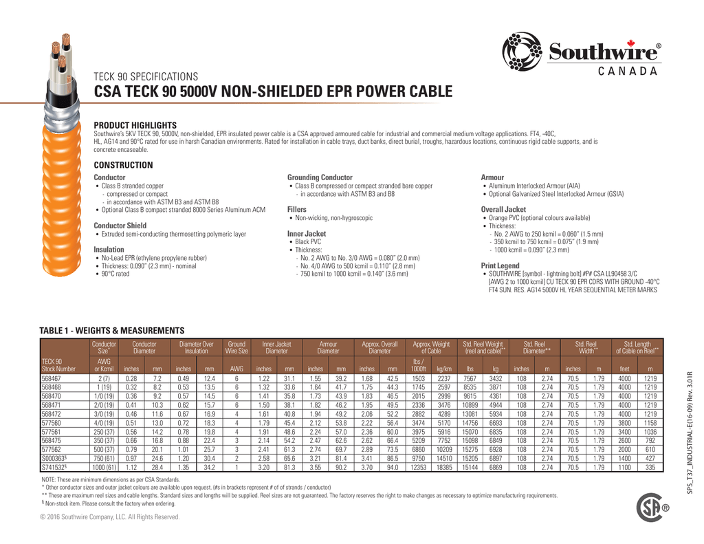 Southwire medium voltage cable ampacity chart wire center southwire spec csa teck 90 5kv ns epr power cable rh studylib net wire ampacity chart keyboard keysfo Images