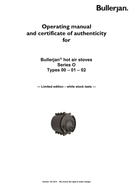 Operating manual and certificate of authenticity for