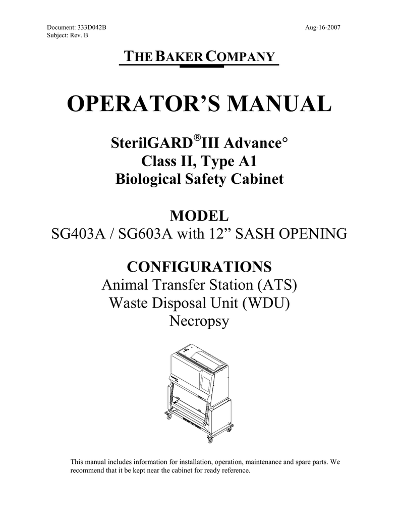 OPERATOR`S MANUAL - The Baker Company on