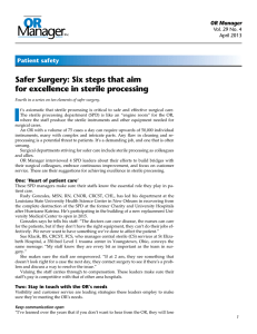 Safer Surgery: Six steps that aim for excellence in sterile