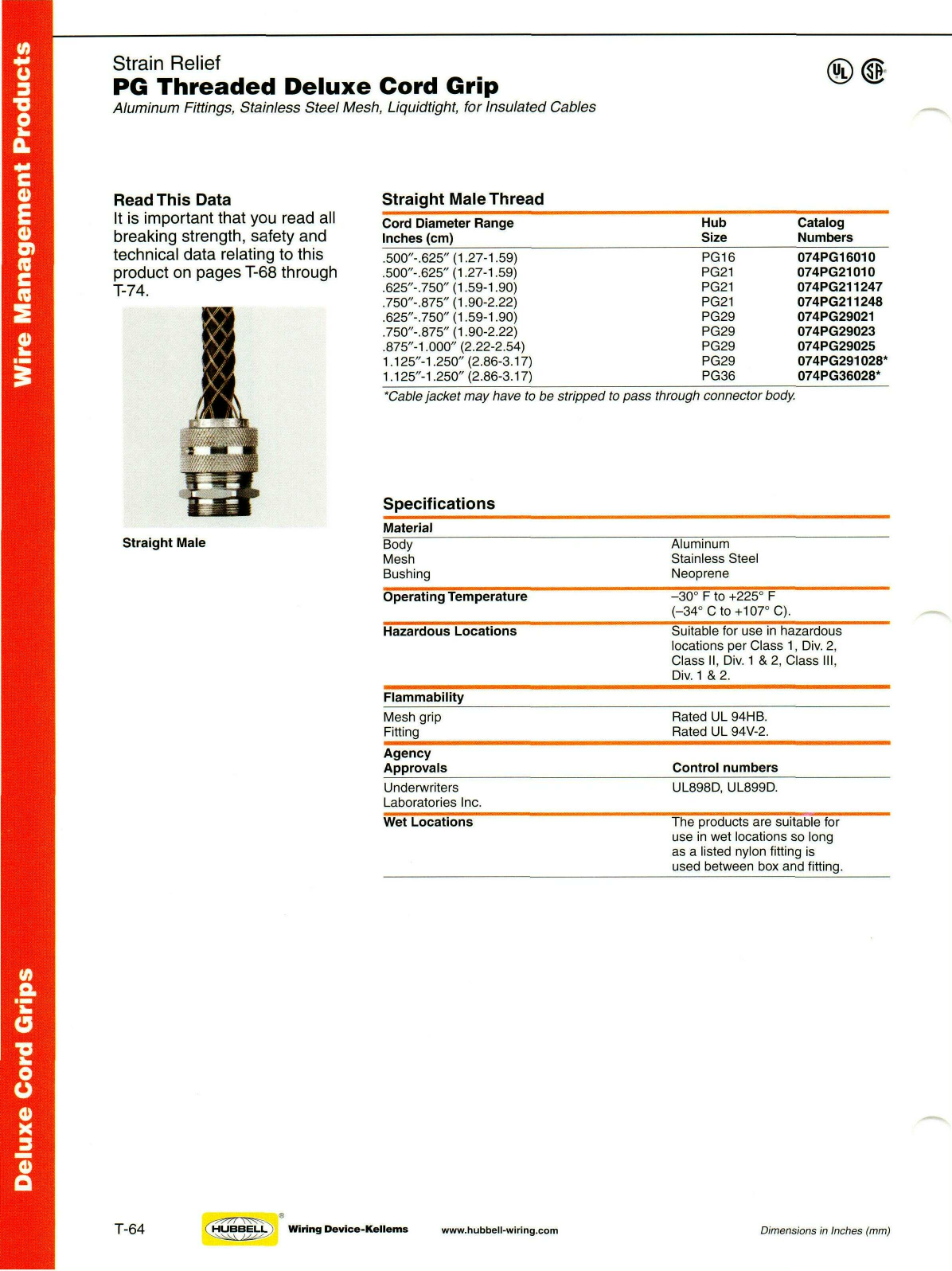 """Hubbell 07401027 Kellems Cord Grip 1-1//4/"""" Dia Range 1/"""" to 1-1//4/"""" Stainless New"""
