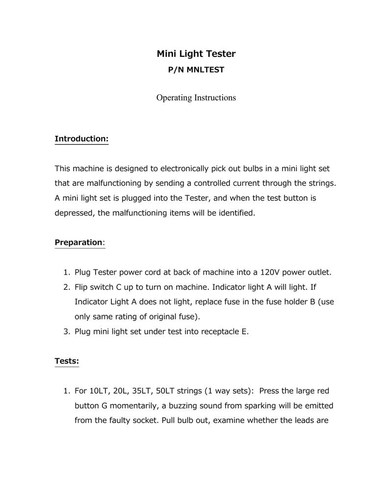 HLS-TEST100 Mini Light Tester Instructions