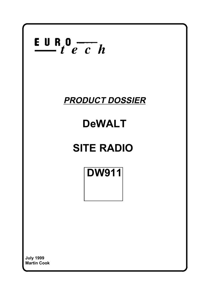 Dewalt Site Radio Dw911