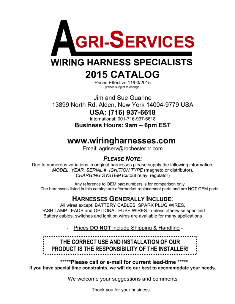 2015 catalog wire harness rh studylib net John Deere B Wiring John Deere 4020 Wiring -Diagram Lights Fenders in For