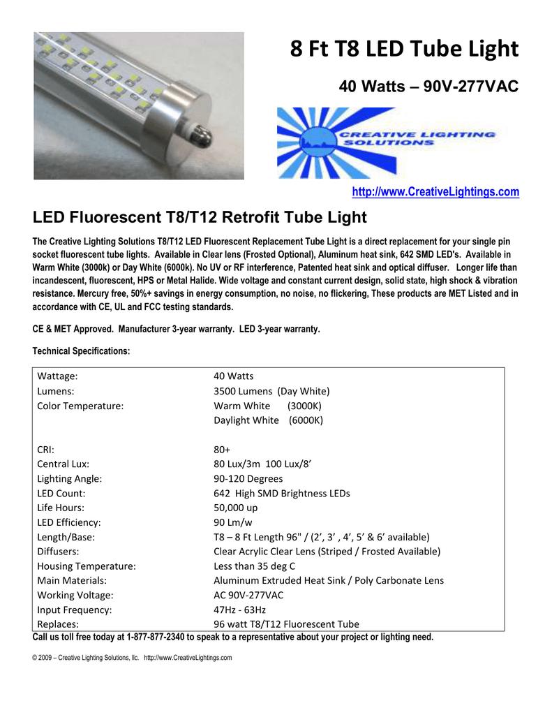 8 Ft T8 Led Tube Light Creativelightingscom How To Convert T12 Fluorescent