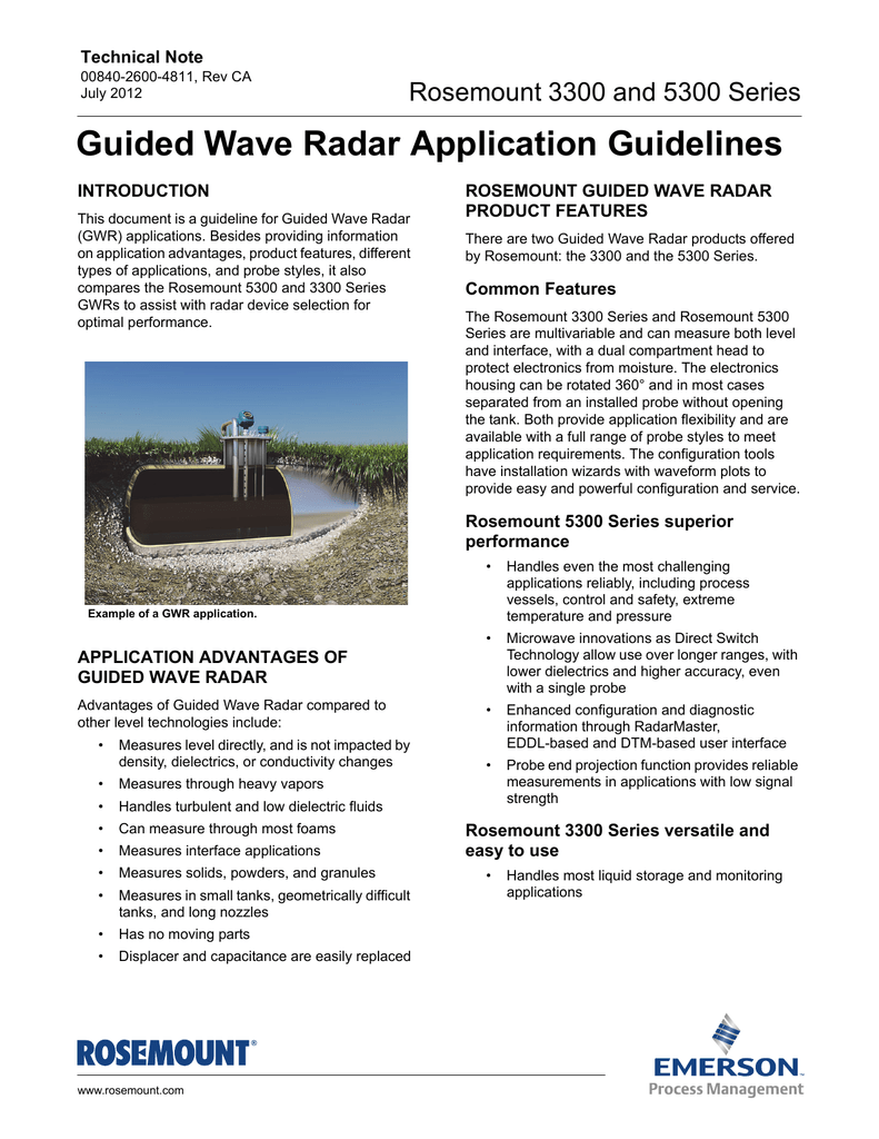 Guided Wave Radar Application Guidelines