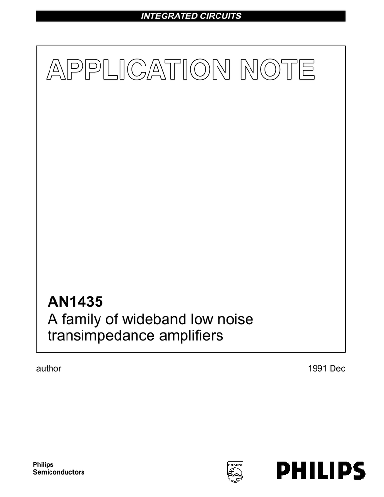 An1435 A Family Of Wideband Low Noise Transimpedance The Amplifier Circuit