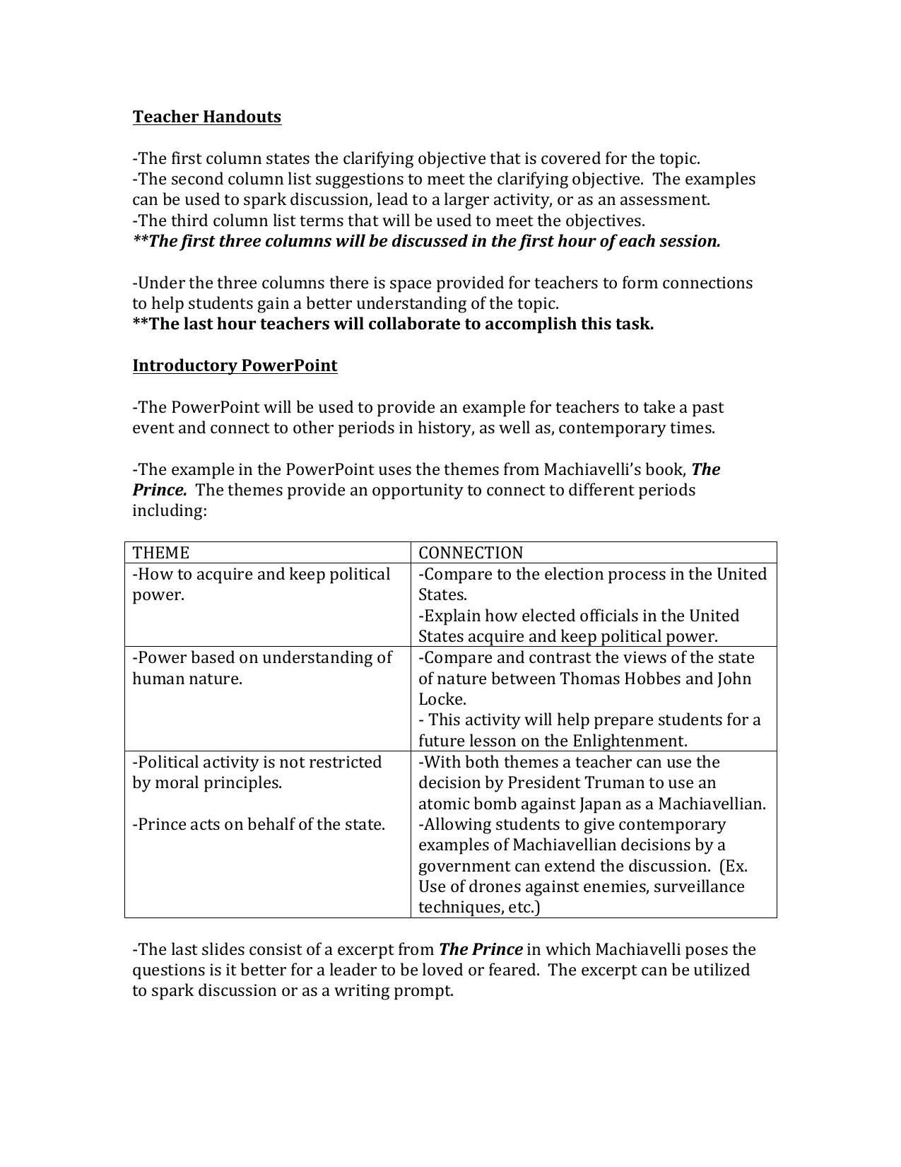 Teacher Handouts -‐The first column states the clarifying