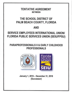 TENTATIVE AGREEMENT THE SCHOOL DISTRICT OF PALM
