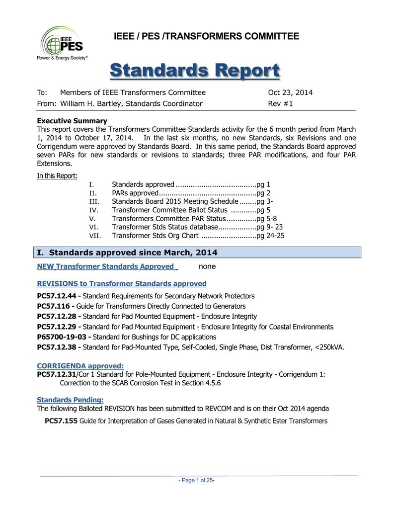 Standards Report - Transformers Committee
