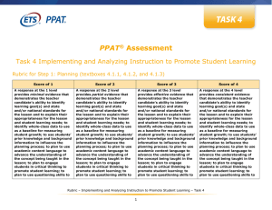 PPAT Assessment Task 4 Rubric
