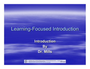Learning-Focused Introduction