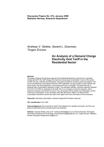 An Analysis of a Demand Charge Electricity Grid Tariff in the