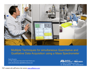 Dossetto Techniques of Mass Spectrometry