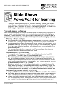 Slide Show: PowerPoint for learning