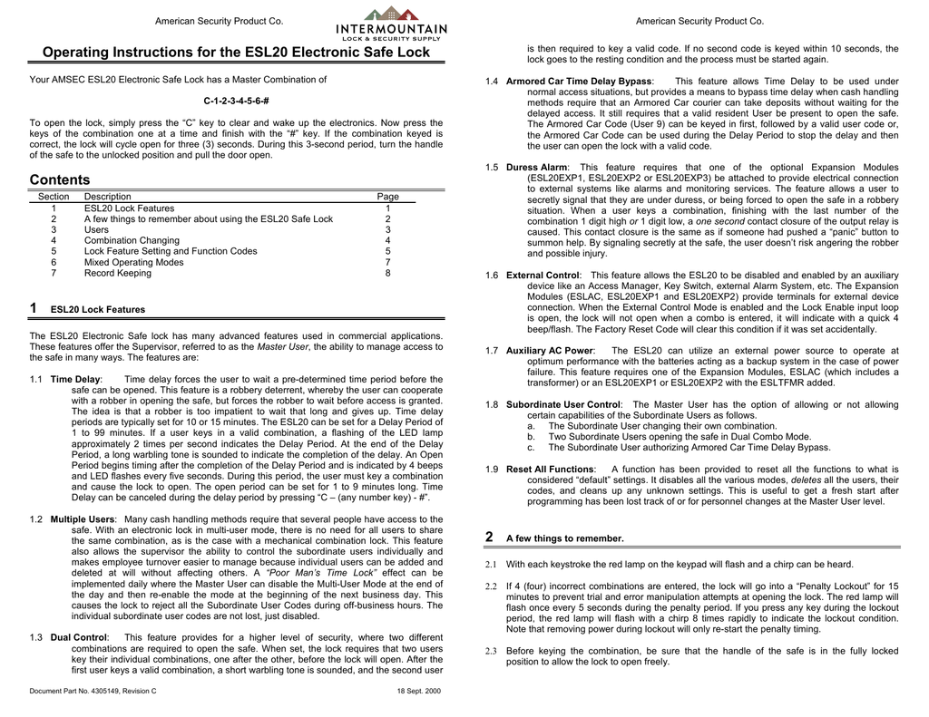 Operating Instructions for ESL10 Electronic Safe Lock