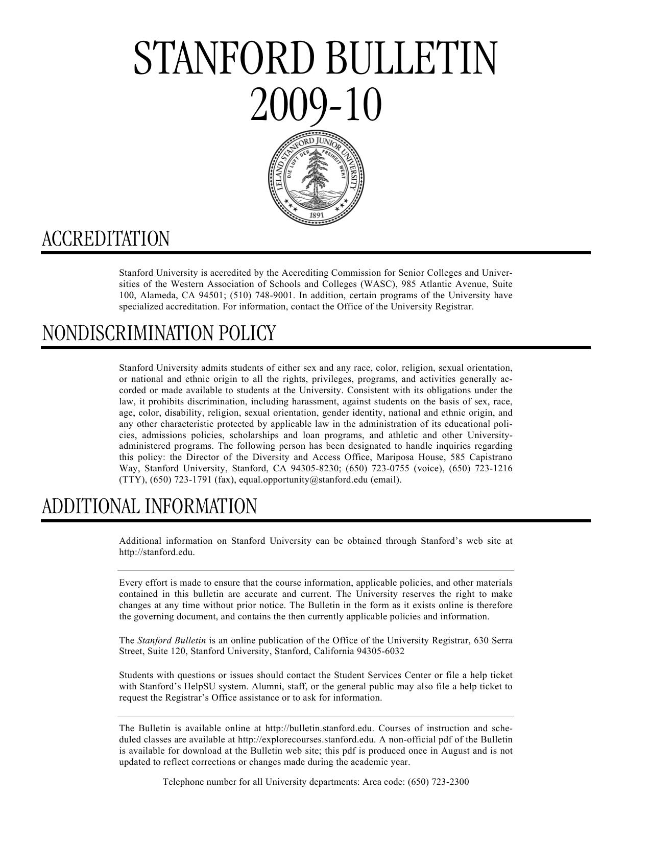 stanford bulletin 2009-10