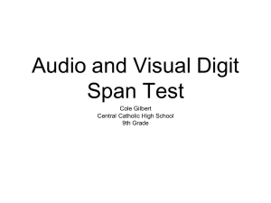Cole Gilbert CCHS Audio and Visual Digit Span Test