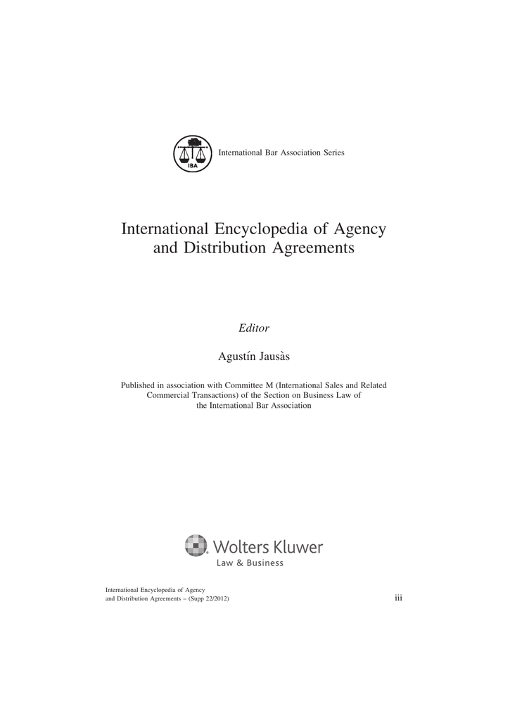 International Encyclopedia Of Agency And Distribution Agreements