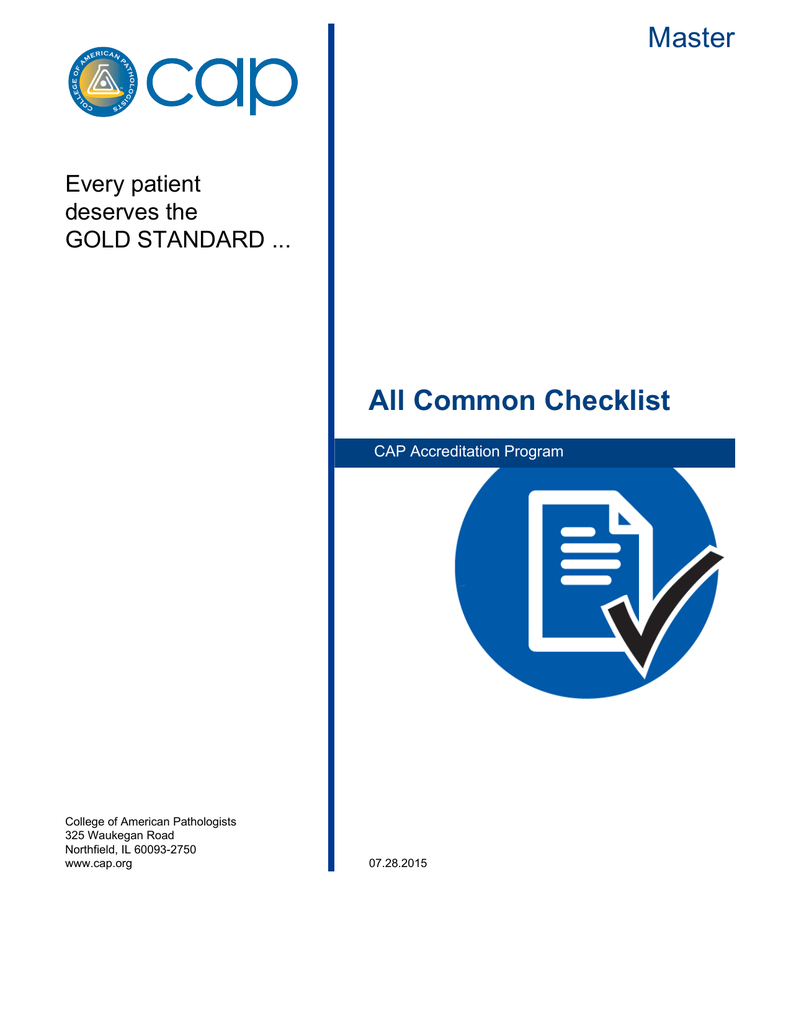 Master All Common Checklist - College of American Pathologists 882b37259d6