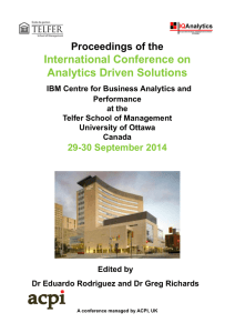 Proceedings of the International Conference on Analytics Driven