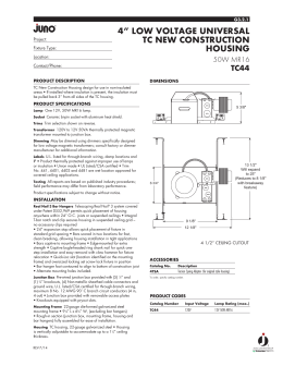 Spec sheet juno lighting group 4 low voltage universal tc new construction housing cheapraybanclubmaster Gallery