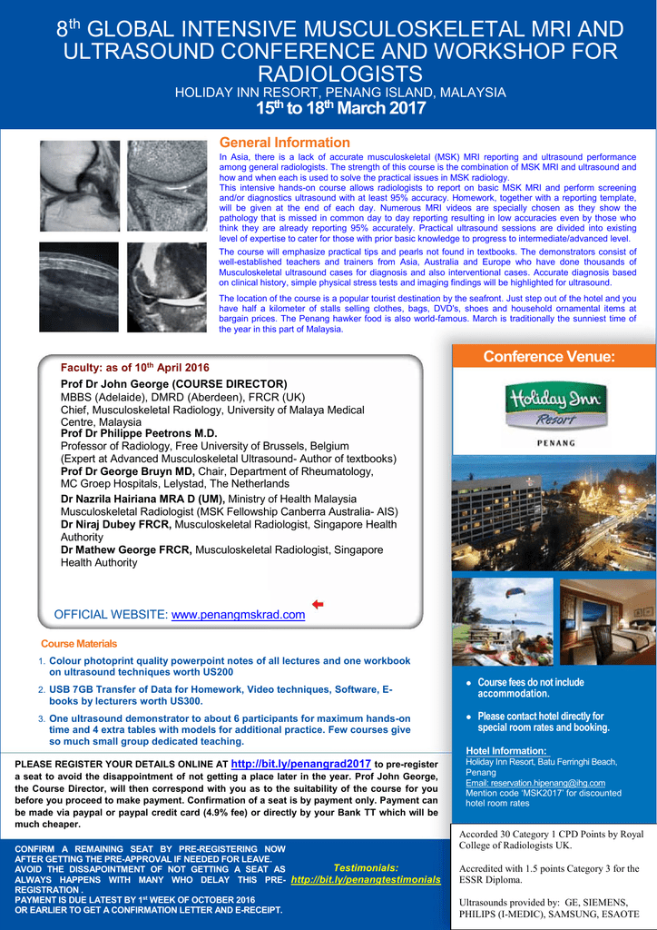 Flyer - Global Musculoskeletal MRI and Ultrasound Courses in