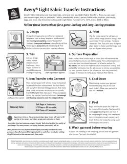 avery light fabric transfer instructions