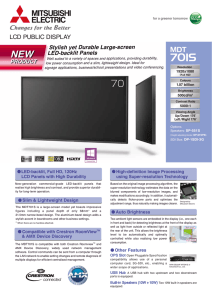 MDT701S Data Sheet - Mitsubishi Electric Visual and Imaging