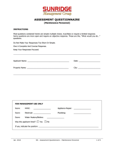 Assessment Questionnaire - Maintenance Personnel