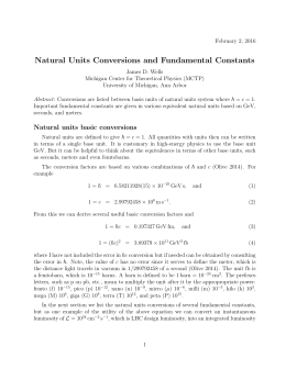 Natural Units Conversions and Fundamental Constants