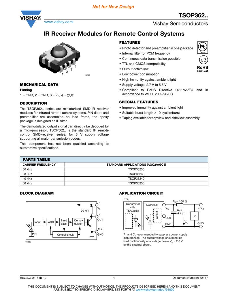 Tsop362 Series Digi Key Infrared Remote Control Transmitter Circuit Remotecontrolcircuit