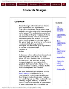 Research Designs: Statnotes, from North Carolina State University