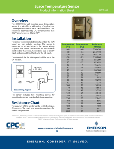 Space Temperature Sensor Overview Installation Resistance Chart