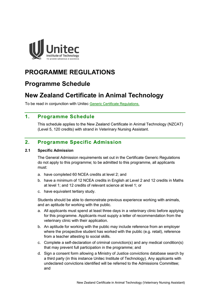 New Zealand Certificate In Animal Technology