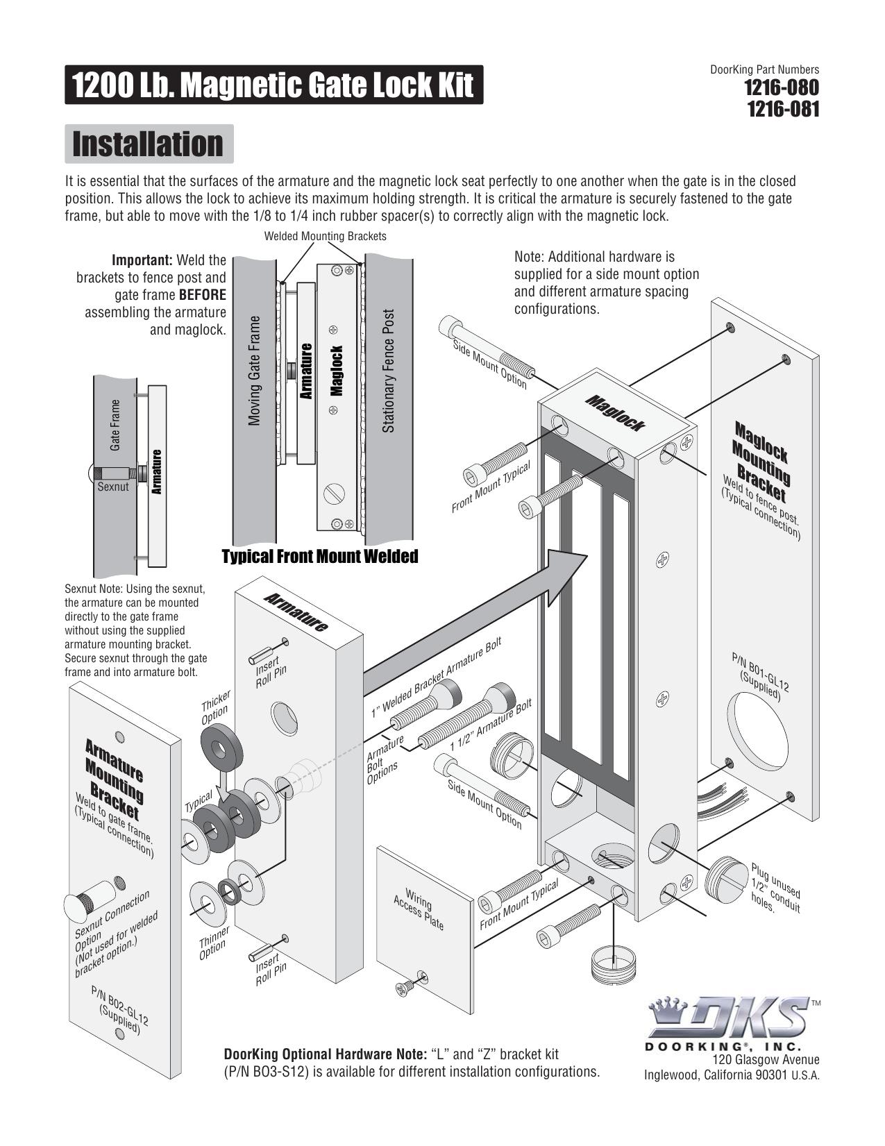 1200 Lb Magnetic Gate Lock Kit Installation Ke Wiring Diagram