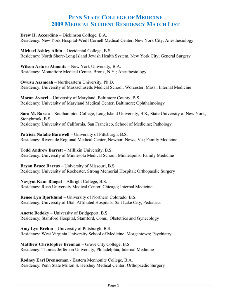2009 Medical Student Residency Match List