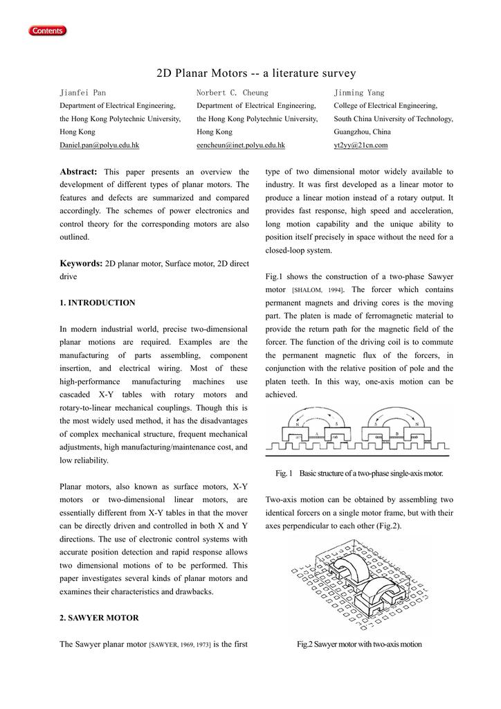 2D Planar Motors -- a literature survey