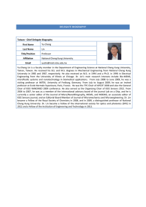 DELEGATE BIOGRAPHY Taiwan - Chief Delegate Biography First
