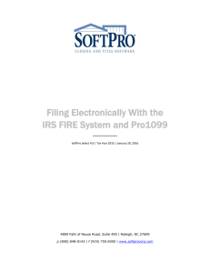 Filing Electronically With the IRS FIRE System and Pro1099
