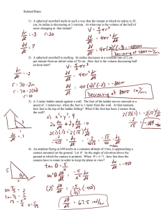 Related Rates worksheet answers
