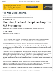 Exercise Diet and Sleep - National Multiple Sclerosis Society